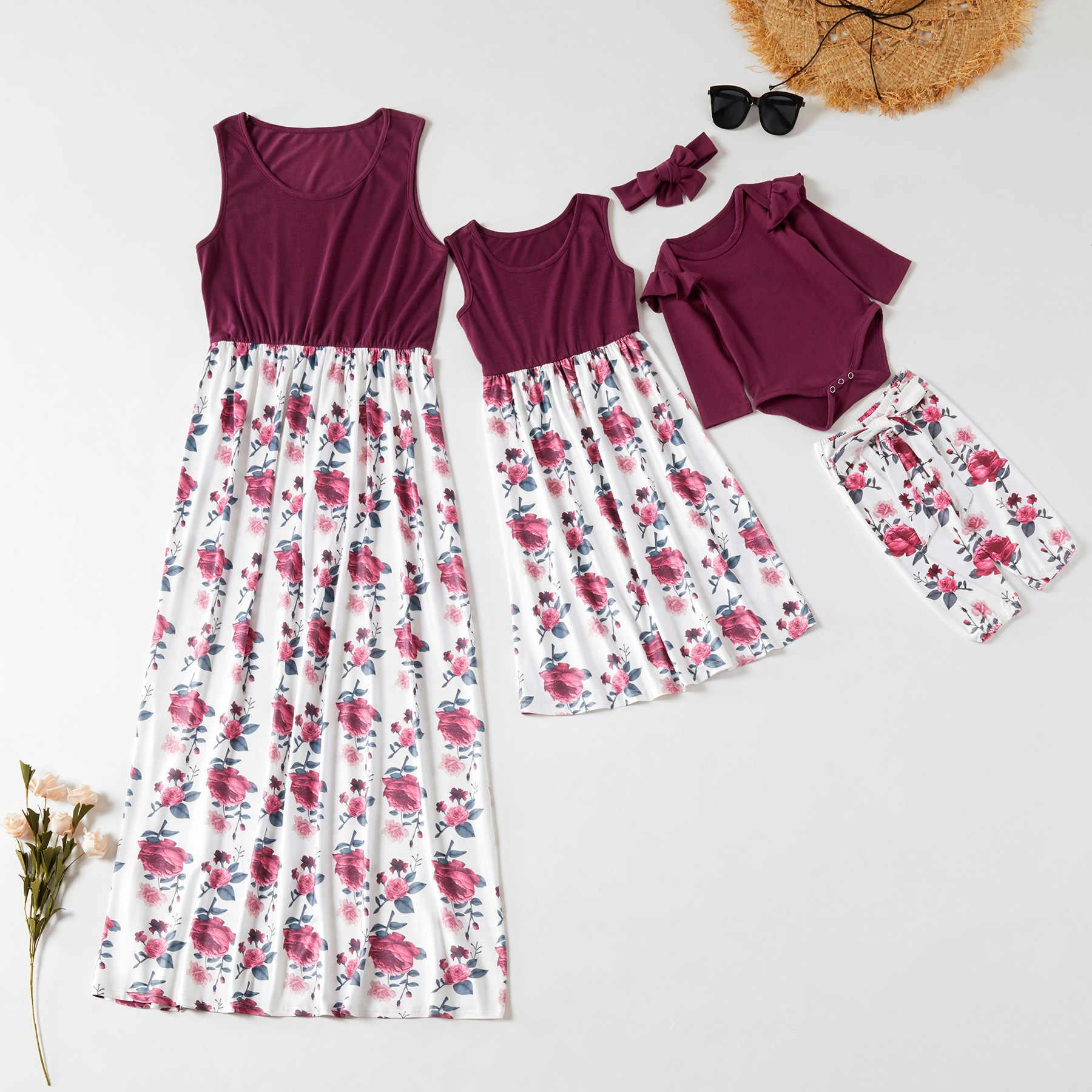 Matka córka kamizelka sukienki ubrania mama i ja jednakowe stroje rodzinne wygląd mama mama i dziewczęta sukienka baby romper + spodnie