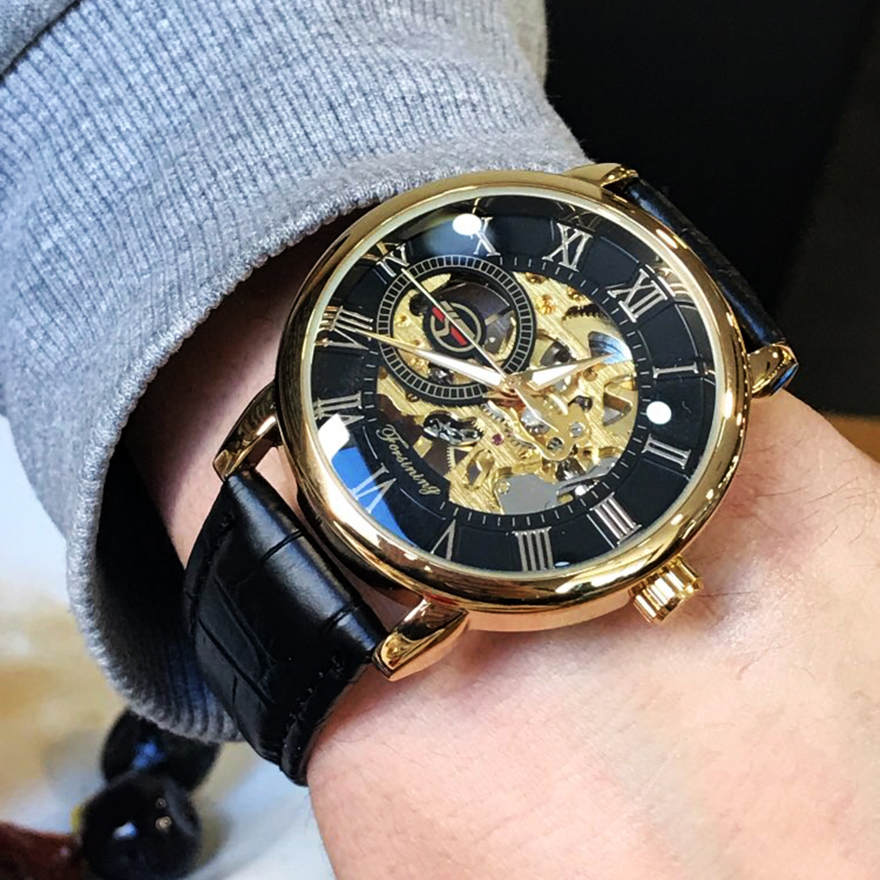 Image 5 - Forsining Men Watches Luxury Mechanical Skeleton Watch Black Golden 3D Literal Design Roman Number Black Dial Luminous ClockMechanical Watches   -
