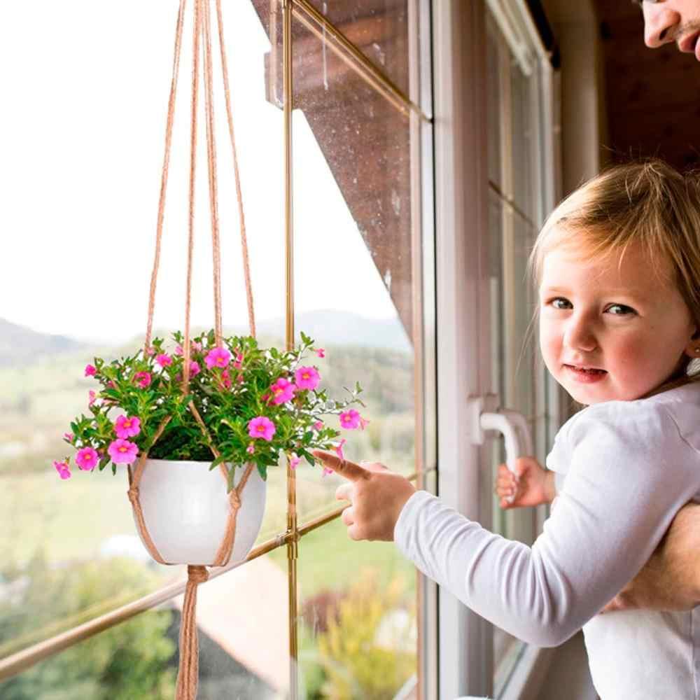 Colgadores de macramé para planta de decoración Vintage, cesta colgante, soporte para planta, decoración Bohemia, cesta para plantas, cuerda de yute trenzada, artesanía