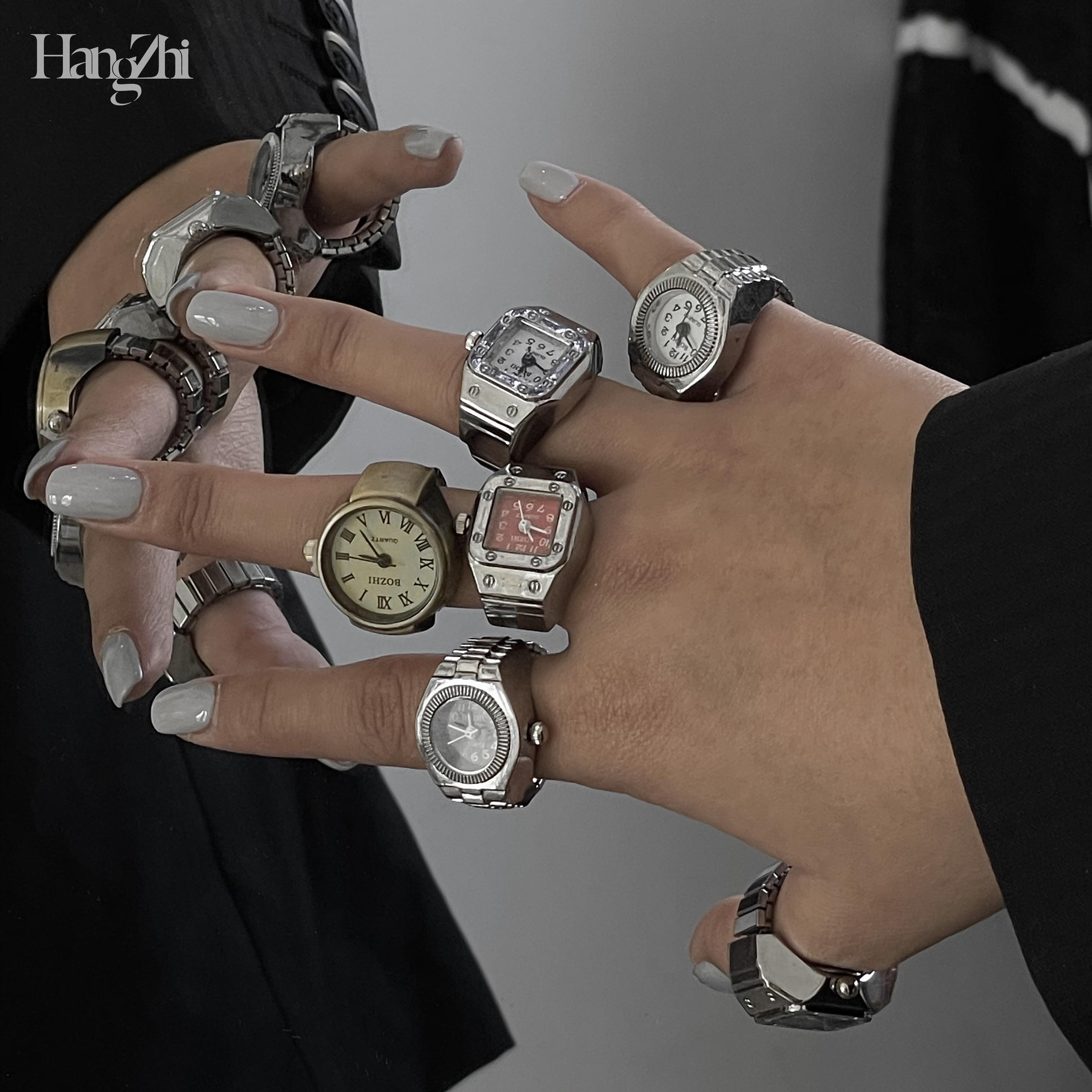 HANGZHI 2021 Новая женская обувь в стиле панк, мини часы эластичная стрейчевая кварцевые часы кольца из серебра Цвет для мужчин и женщин в стиле х...