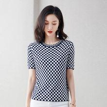 Женская футболка с коротким рукавом и круглым вырезом