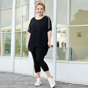 COCOEPPS lato 2 sztuka zestaw kobiety ubranie Plus Size bluzki z frędzlami i zestaw spodni szyfonowa Patchwork koreański styl 2 sztuka stroje