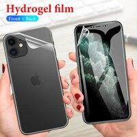 Película protectora de hidrogel para iPhone, Protector de pantalla frontal + trasera para iPhone 12 Mini 11 Pro XS Max XR XS X 10 7 8 6 6s Plus