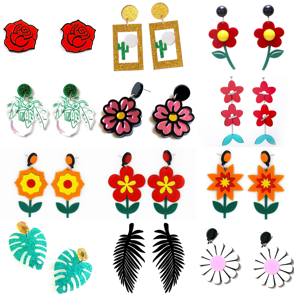 Fashion Lovely Flower Daisy Rose Cactus Drop Earrings For Women Girls Acrylic Plant Dangle Earrings Female Brincos Jewelry
