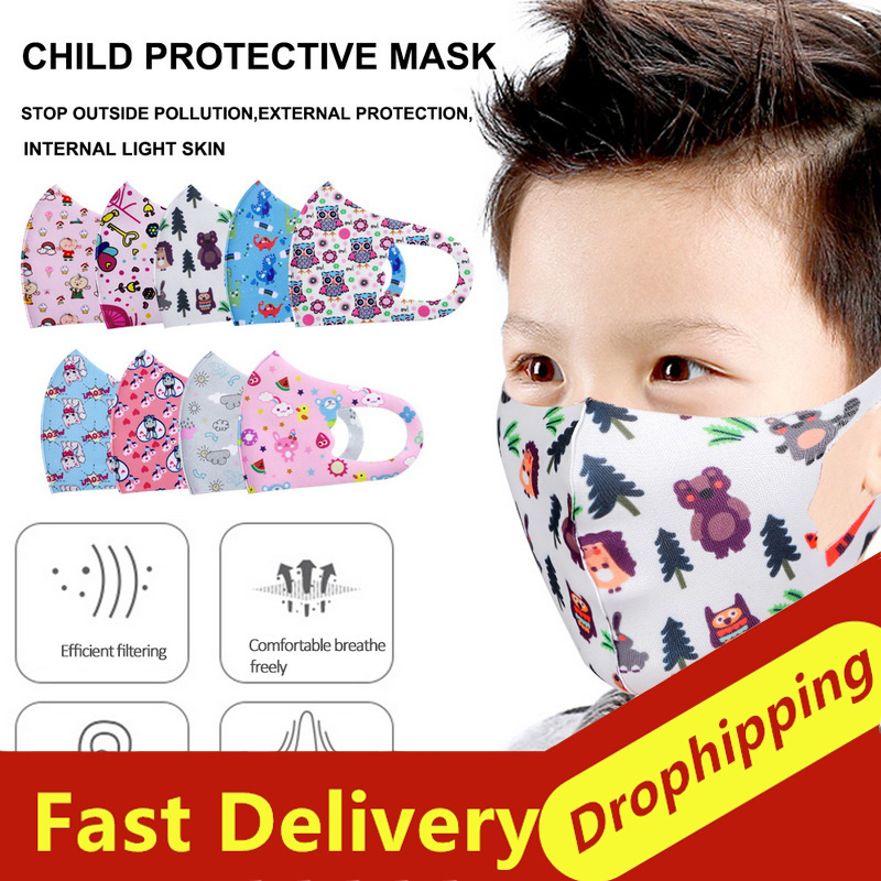5PCS Children Mouth Mask For Kids Cartoon Thicken Smog Mask N95 FFP2 Warm Dust Mask Facial Protective Covers Mouth Cap