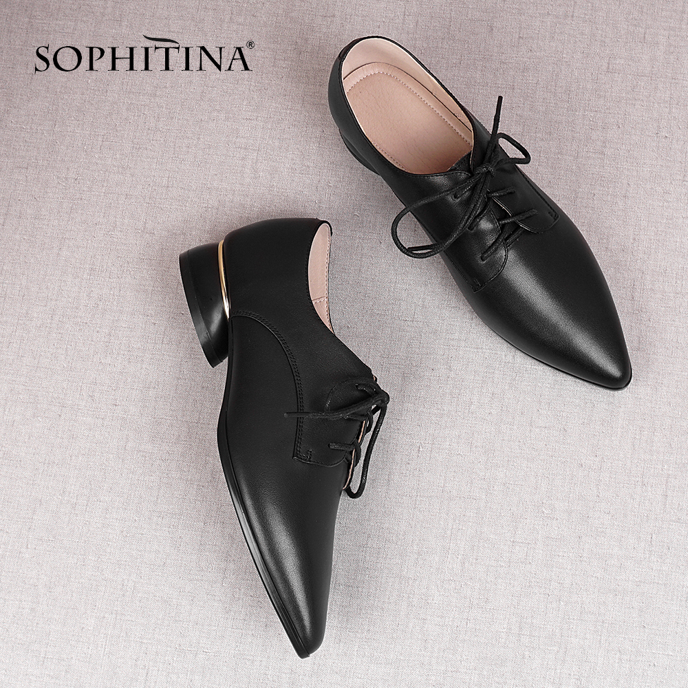 SOPHITINA Spring Autumn Women Pumps Pointed Toe Round Heel Med Lace-Up Fashionable Shoes Cow Leather Office Career Pumps MO418