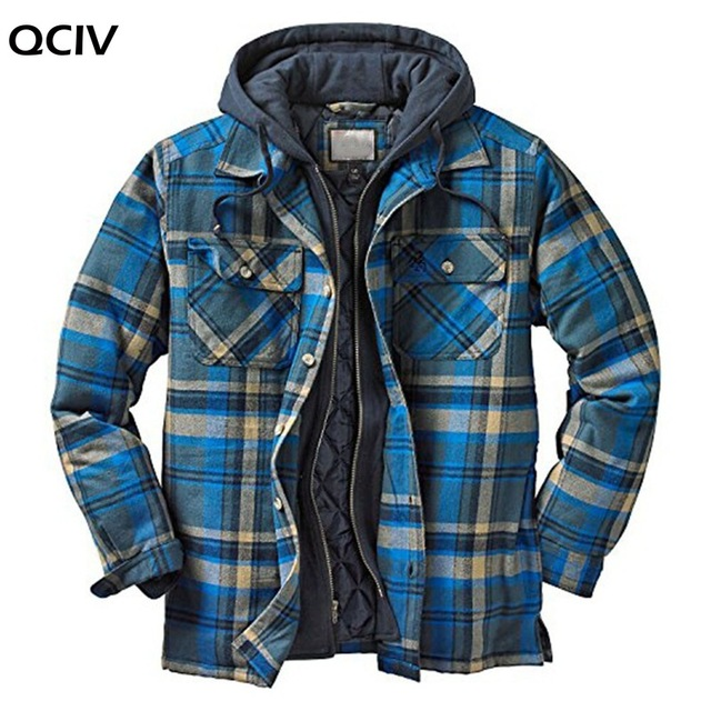 Explosive Men's Clothing European American Autumn and Winter Models Thick Cotton Plaid Long-sleeved Loose Hooded Jacket 2
