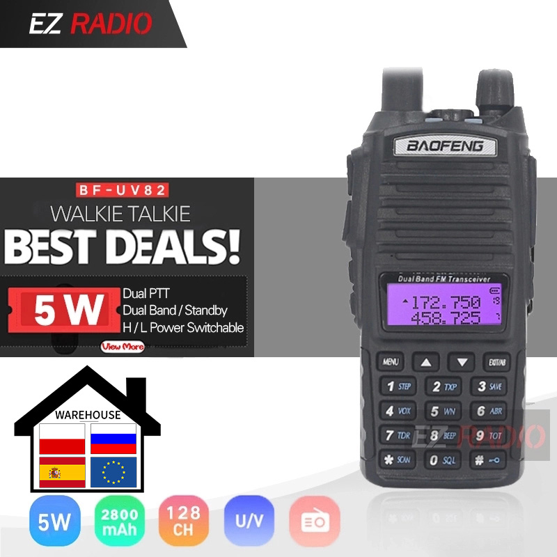Original BaoFeng UV-82 Walkie Talkie 5W 128Ch Dual Band VHF UHF 136-174MHZ 400-520MHZ Portable Baofeng UV82 Ham Radio Baofeng 82