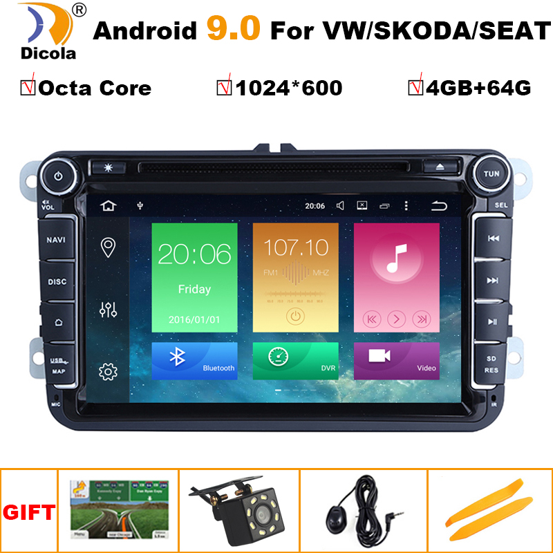 IPS Android 9.0 Car DVD for VW/Volkswagen SKODA <font><b>GOLF</b></font> <font><b>5</b></font> <font><b>Golf</b></font> 6 POLO PASSAT B7 T5 CC JETTA TIGUAN car gps stereo navigation player image