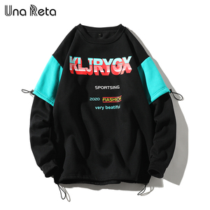 Image 1 - UnaReta Winter Neue Hip hop Männer Sweatshirt Mode Gefälschte zwei stück design Warme Fleece Pullover Tops Mens Casual Streetwear
