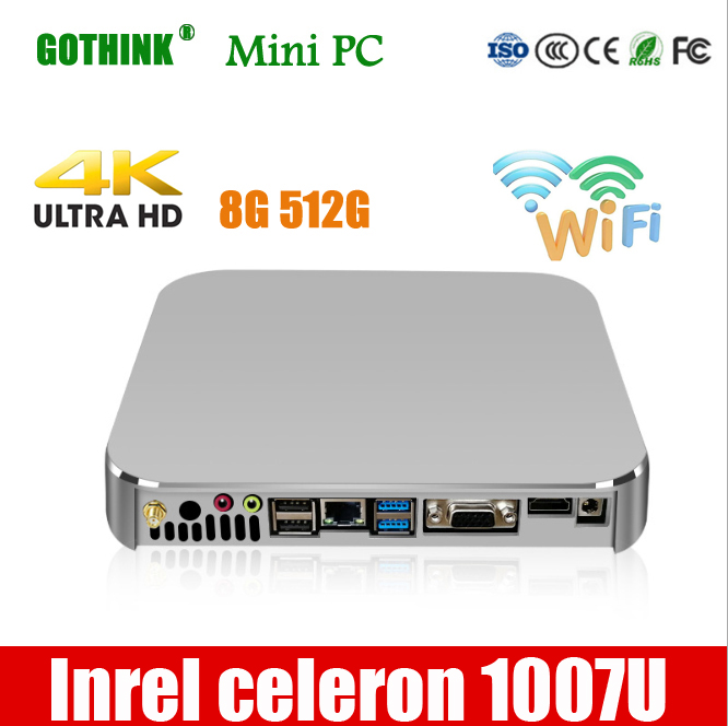 GOTHINK Mini Pc Inrel Celeron 1007U Dual Core 1.5Ghz Frequency Support XP WIN7/8/10 LINUX System 4G 32G Pocket Pc 300M Wif VGA