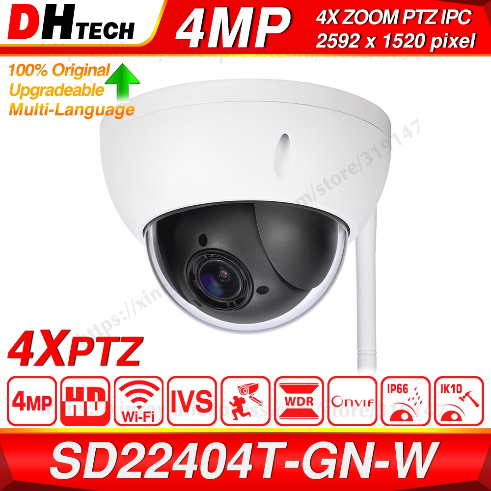 Dahua Original SD22404T-GN-W 4MP 4X Zoom PTZ H.265 WDR ICR IVS Face Detect IP66 IK10 Onvif Wireless WiFi Network CCTV IP Camera