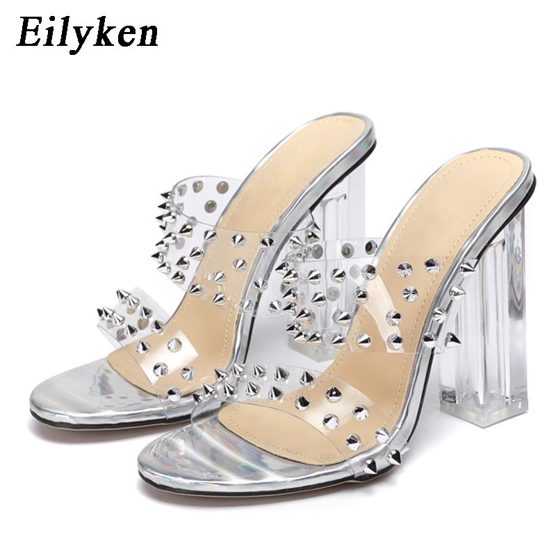Eilyken <font><b>Sexy</b></font> PVC Transparent Strap Silver Rivet Design <font><b>Women</b></font> <font><b>Slippers</b></font> 2020 Summer Fashion Clear Perspex <font><b>High</b></font> <font><b>Heels</b></font> Party <font><b>Shoes</b></font> image