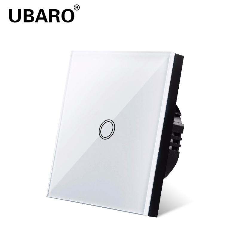 UBARO  Touch Switch, EU Standard, White Crystal, Glass Panel, Touch Switch, Ac220v,1, 1 Way, Wall Lamp, Wall Touch Screen