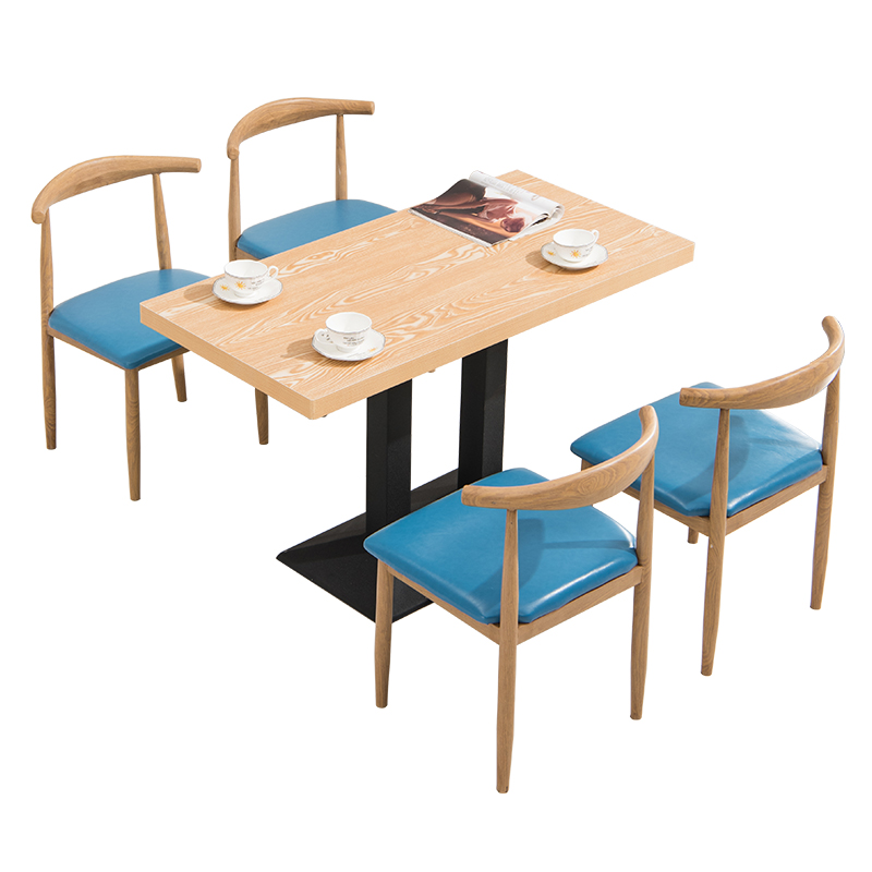 Fast Food Tables And Chairs Combination Snack Milk Tea Coffee Shop Dining Table And Chair Simple Iron Art Imitation Solid Wood H