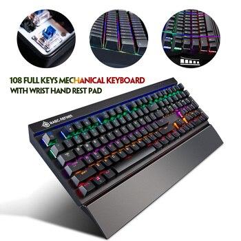 Mk15 rgb teclado de jogo mecânico, com apoio para pulso, almofada para mão, 108 teclas quadradas suspensas, anti-fantasma retroiluminado led pc gamer, pc
