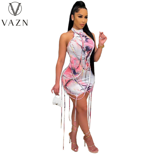 VAZN New 2021 Pleated Chic Ladies Slim Elegant Female Dress Women Deep Female Ladies Sleeveless Deep Dress Sexy Mini Beach Dress 5