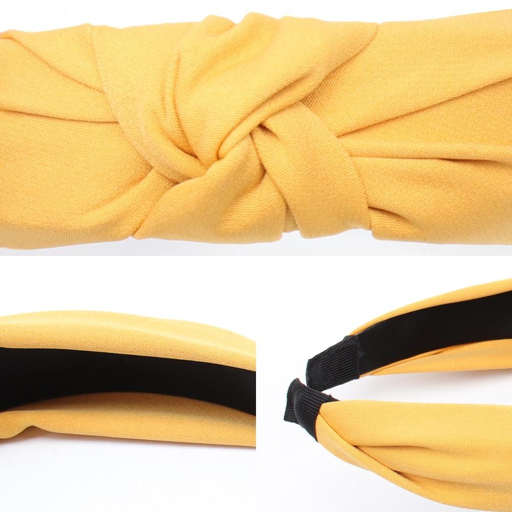 Couleur unie noeud bandeaux pour femmes Simple tissu filles bandeau femmes cheveux accessoires large côté bandeau 4