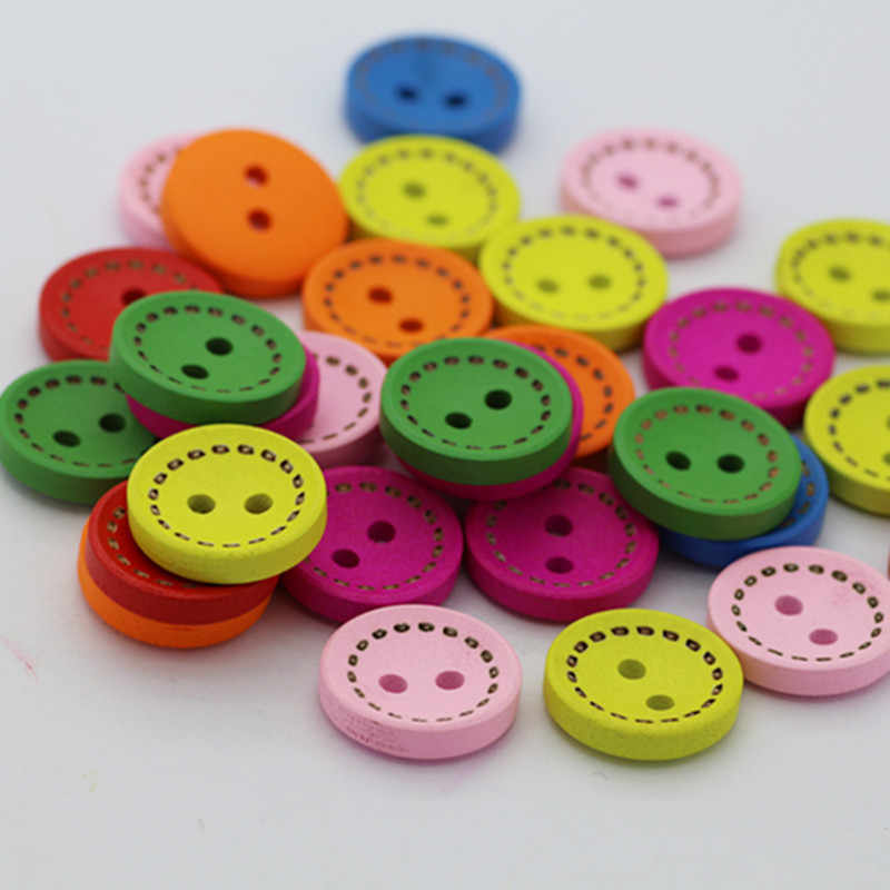 Round color dotted wooden buttons Wooden buttons DIY handmade accessories 7 colors mixed colors 15MM buttons for clothing