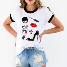 Sexy red lip Lipstick high heel shoe paris style t-shirt women vogue t shirt graphic tees femme streetwear woman clothes