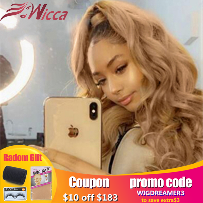 Wicca Blonde Ombre Human Hair 13X6 Lace Front Wigs For Women Remy  Hair Wavy Lace Front Wig Human Hair Lace Wig With Baby Hair