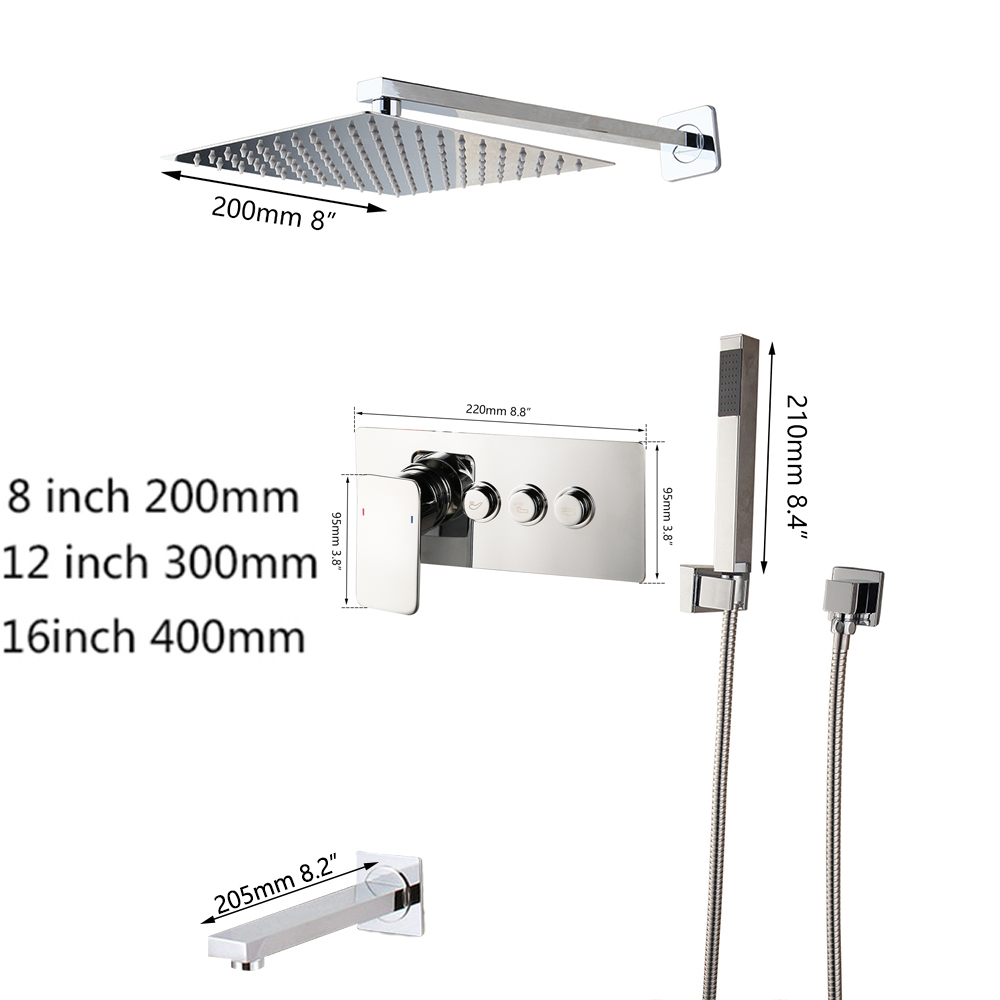 KEMAIDI Solid Brass LED Shower Mixer Bathroom Bathtub Taps Bathroom Shower Faucet 3-Functions Digital Shower Faucets Set