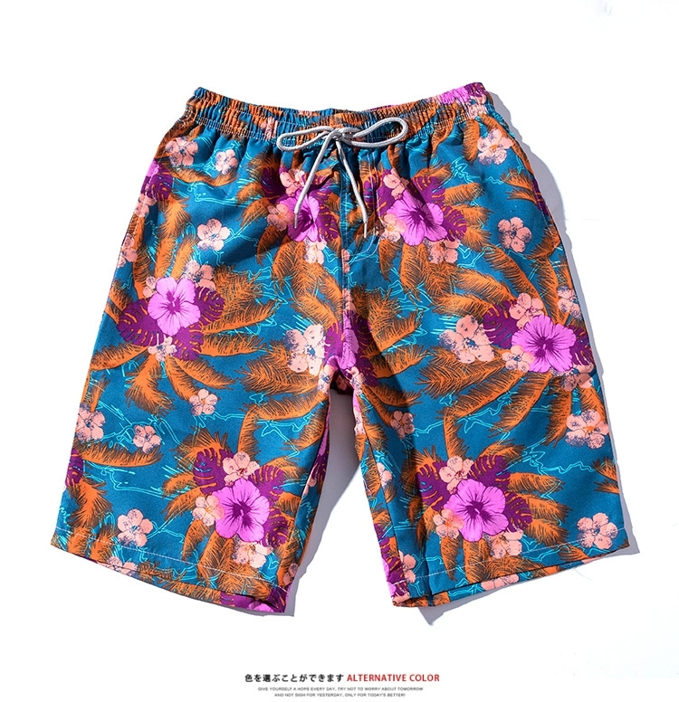 Men's Summer Fashion Casual Hawaiian Beach Pants Drawstring Pocket Floral Lovers Beach Pants Straight Tube Shorts