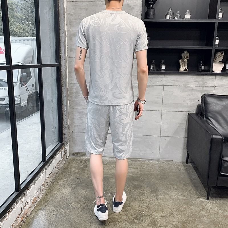 Summer 2020 Printed Short Sleeve T Shirt Set Elastic Waist Shorts Men Sportswear High Street Casual Tracksuit Plus Size 4XL