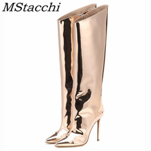 MStacchi Women's High Boots Gold Silver Pointed Toe Knee-high Boots For Woman Sexy High Heels Party Shoes Ladies Stiletto Boots