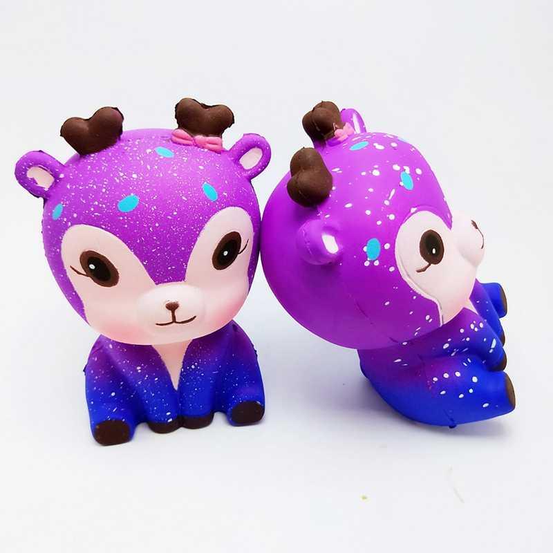 Animales Kawaii blandos juguetes para niños divertido juguete antiestrés cielo estrellado Color Sika Deer Squash Deer blando para apretar juguetes para niños