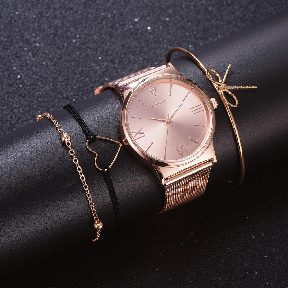 GAIETY Fashion Brand 4pcs/Set Dress Women Rose Gold Watches Luxury Ladies Wrist Watch Female Quartz Clock Bracelet Reloj Mujer