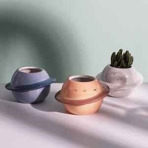 Image 1 - Neue Kreative Planeten keramik topf sukkulenten töpfe balkon dekorationen macetas de ceramica desktop decor Mini anlage blumentopf garten