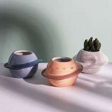 새로운 크리 에이 티브 플래닛 세라믹 냄비 즙이 많은 냄비 발코니 장식 macetas 드 ceramica 데스크탑 장식 미니 식물 화분 정원