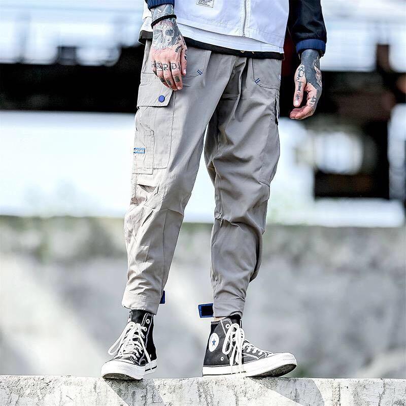 Homens bonitos multi-bolso harem hip pop calças