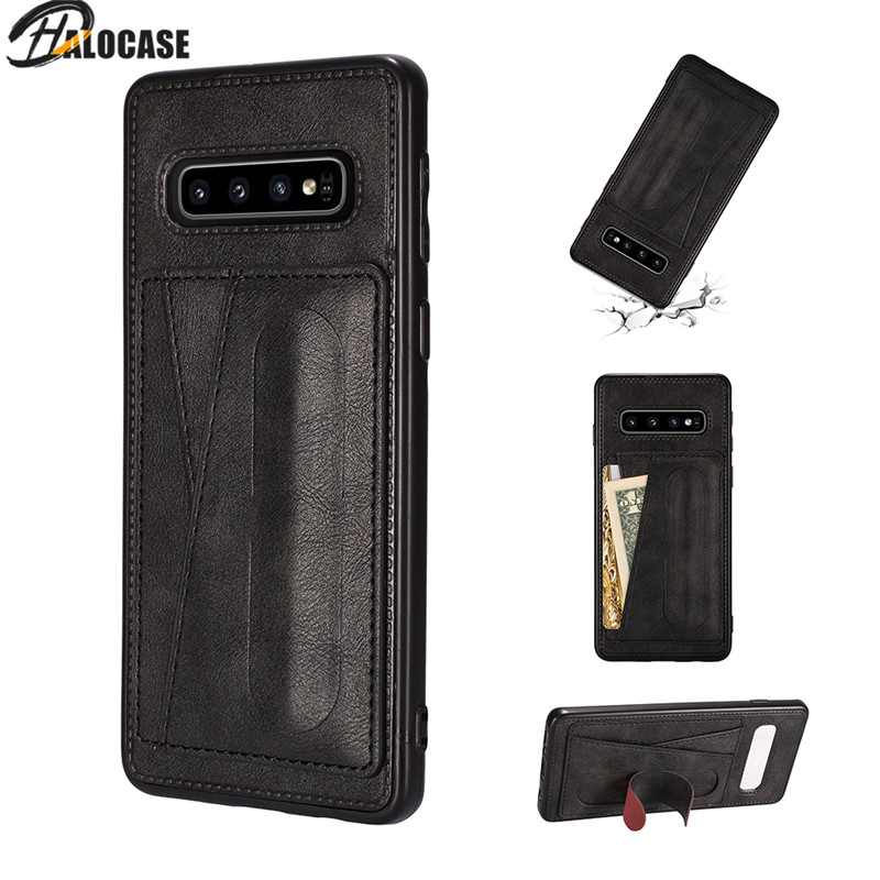 Luxury Business Bracket Phone Case For Samsung Galaxy S8 S9 S10 e Plus J4 J6 Plus J8 2018 Leather Card Holder Phone Cover Capa