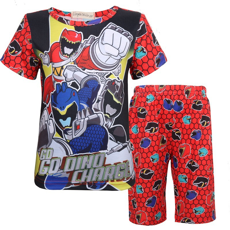 Power Rangers Clothes Toddler For Boys Girls Pajamas Children's Suit Dinosaur Super Home Wear Cosplay Clothing Halloween Costume