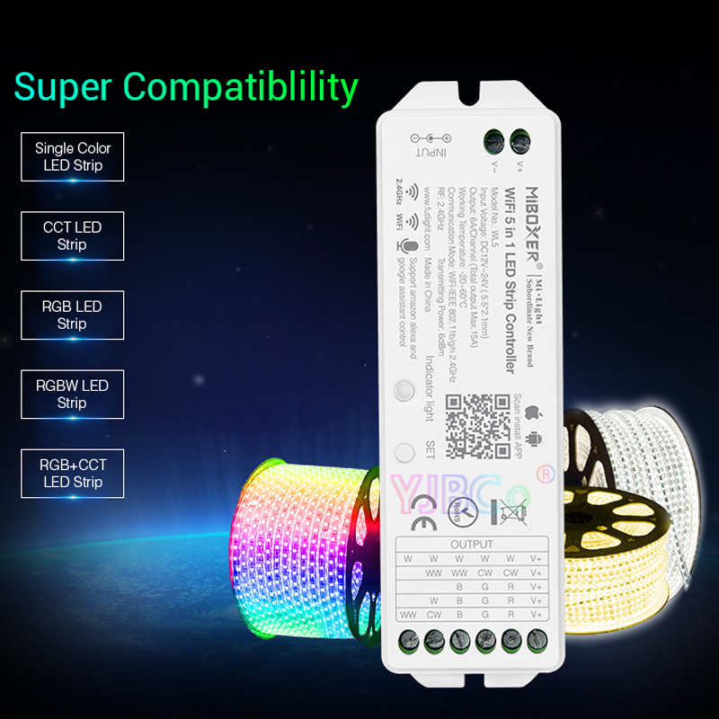 Miboxer WL5 2.4G 15A 5 IN 1 WiFi LED Controller For Single Color, CCT, RGB, RGBW, RGB+CCT Led Strip,Support Amazon Alexa Voice
