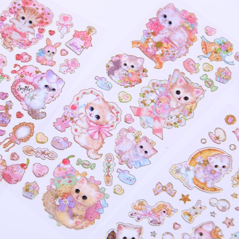 1pcs/1lot Kawaii Stationery Stickers Cartoon Cat Diary Decorative Mobile Stickers Scrapbooking DIY Craft Stickers