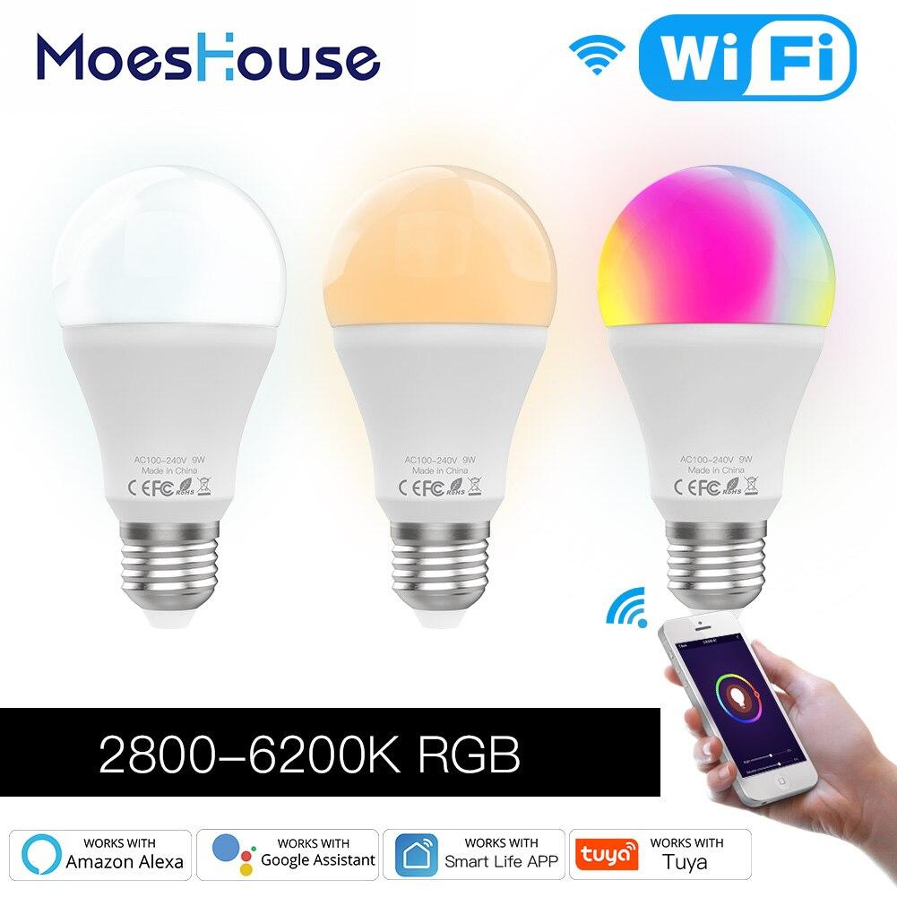 Умная лампа с Wi-Fi, RGB C + W, дистанционным управлением через приложение Smart Life Tuya, работает с Alexa Echo Google Home E27