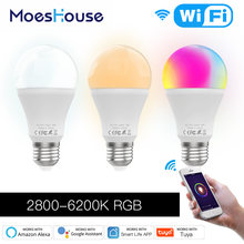 Lâmpada led inteligente, wifi regulável 9w, rgb c + w, controle remoto smart life tuya, funciona com alexa echo home e27