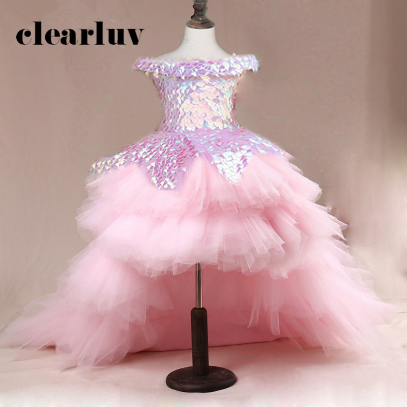 Train Ball Gown B018 2020 Pink Sequins Flower Girl Dresses For Weddings Elegant Off The Shoulder Boat Neck Girls Princess Dress