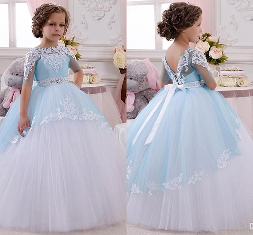 Princess Flower Girl Dress Lace Appliques Wedding Prom Ball Gowns Birthday Communion Toddler Kids TuTu Dress For Little Girl