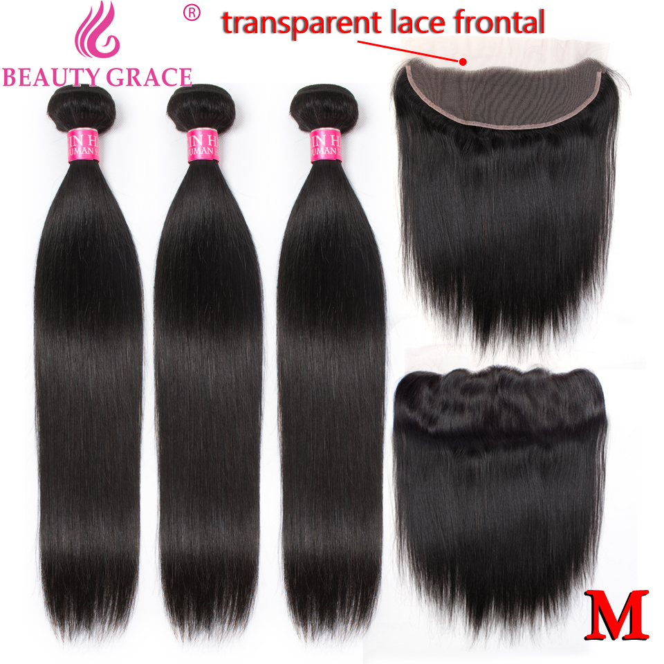 Straight Hair Bundles With Frontal Brazilian Human Hair Weave 30 Inch Bundles With Transparent Hd Lace Frontal Closure Non-Remy