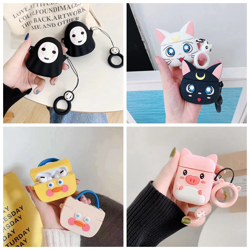 For AirPods Pro Case 3D Cute Cat Pig Duck Kawaii Anime Cartoon Earphone Cover For AirPods 3 Soft Protect Case With Carabine Hook