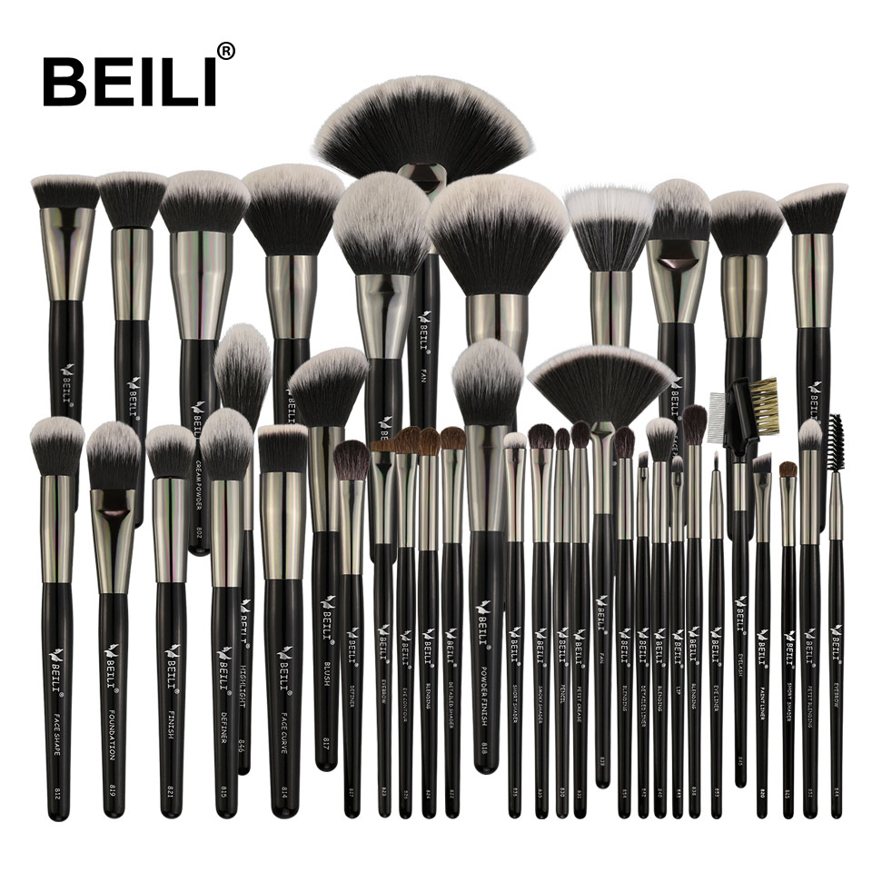 BEILI 40/35/15 Pieces Luxury Black Professional Makeup Brush Set Big Brushes Powder Foundation Blending Goat Hair Makeup Brushes