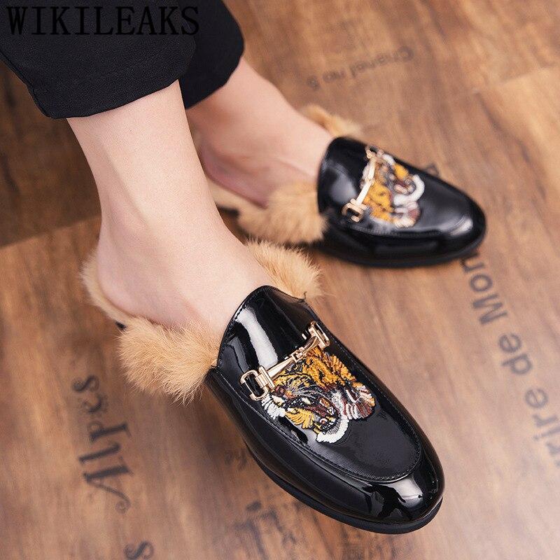 Mules Half Shoes For Men Fur Leather Shoes Men Black Luxury Shoes Men Fashion Mens Winter Footwear Zapato Hombre Casual De Cuero