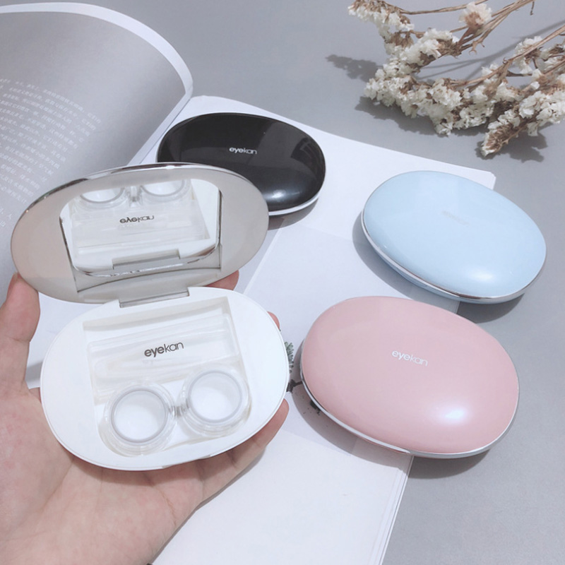 Cobblestone Magnetic Induction Contact Lens Case Ins Girl And Boy New Thin Contact Lenses Case  Eye Contacts Case