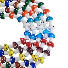 100pcs Handmade Lampwork Loose Beads Mixed Color Mushroom Do