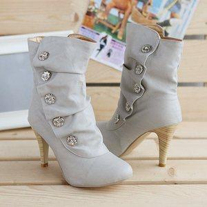 Image 5 - ANMAIRON على بيع Winther جديد مثير نمط عالية الكعب بولي PU منتصف العجل أحذية السيدات جميل موضة أحذية ثلج ألوان امرأة أحذية بوت قصيرة