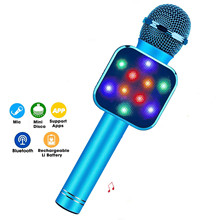4in 1 LED Lights Handheld Portable Karaoke Microphone Home KTV Player with Record Function Compatible with Android & iOS Devices